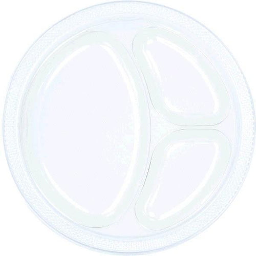 Amscan SOLIDS Clear Plastic Divided Dinner Plates 20ct