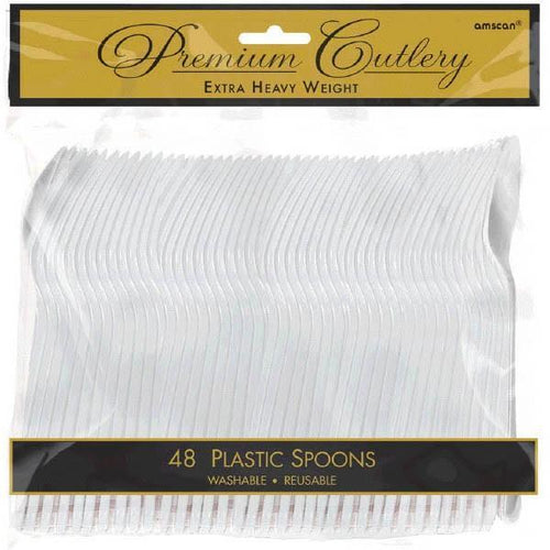 Amscan SOLIDS Clear Premium Heavy Weight Plastic Spoons 48ct