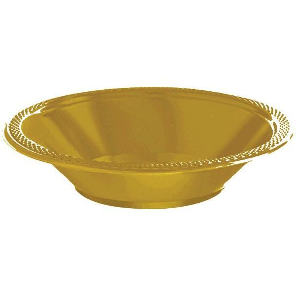 Amscan SOLIDS Gold 12 oz. Plastic Bowls - 20 Count