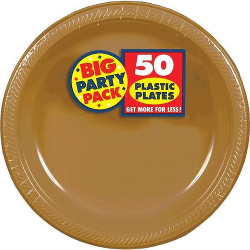 "Amscan SOLIDS Gold Plastic Dinner Plates 10 1/4"" - 50ct"