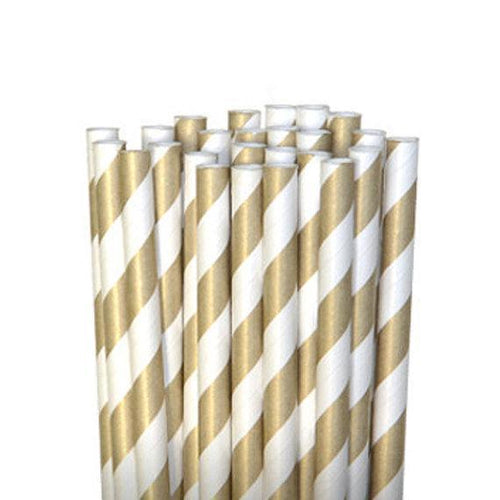 Amscan SOLIDS Gold Striped Paper Straws 80ct