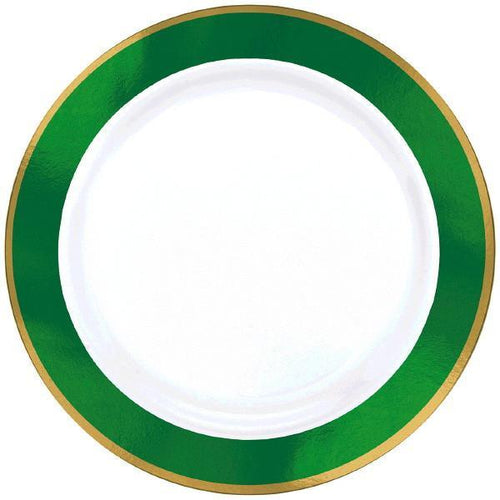 Amscan Solids Green & Gold Premium Plastic Dinner 10.5 Inch Plates - 10ct