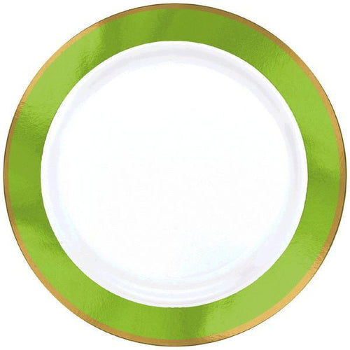 Amscan Solids Kiwi Green & Gold Premium Plastic Dinner 10.5 Inch Plates - 10ct