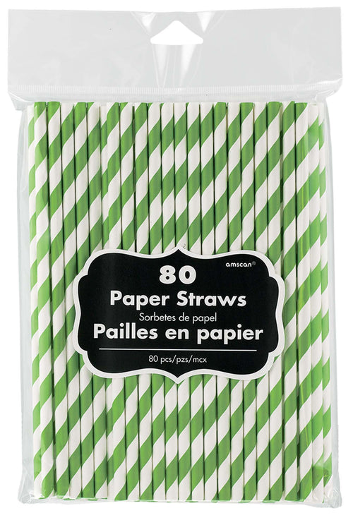 Amscan Solids Kiwi Green Paper Straws 80ct