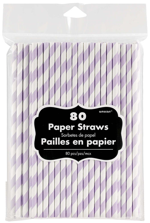 Amscan Solids Lavender Striped Paper Straws 80ct