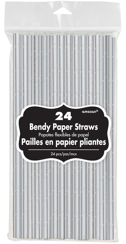 AMSCAN Solids Metallic Silver Paper Straws 24ct