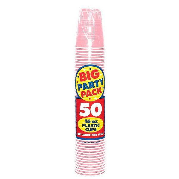 Amscan SOLIDS New Pink Big Party Pack Plastic Cups, 16 oz.