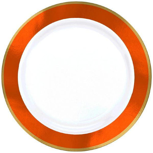 Amscan Solids Orange & Gold Premium Plastic Dinner 10.5 Inch Plates - 10ct