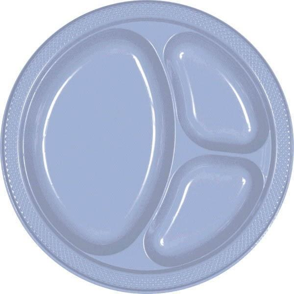 Amscan SOLIDS Pastel Blue Plastic Divided Dinner Plates 20ct
