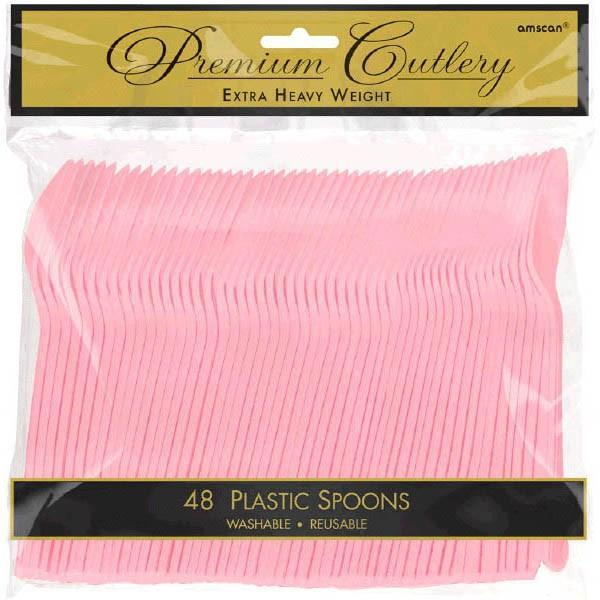 Amscan SOLIDS Pink Premium Heavy Weight Plastic Spoons 48ct