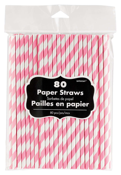 Amscan Solids Pink Striped Paper Straws 80ct