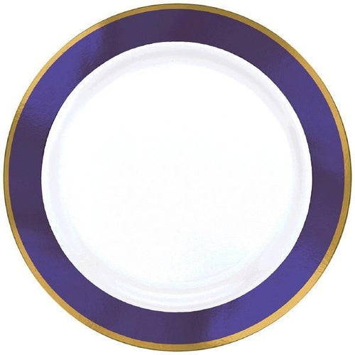 Amscan Solids Purple & Gold Premium Plastic 7.5 Inch Plates 10ct