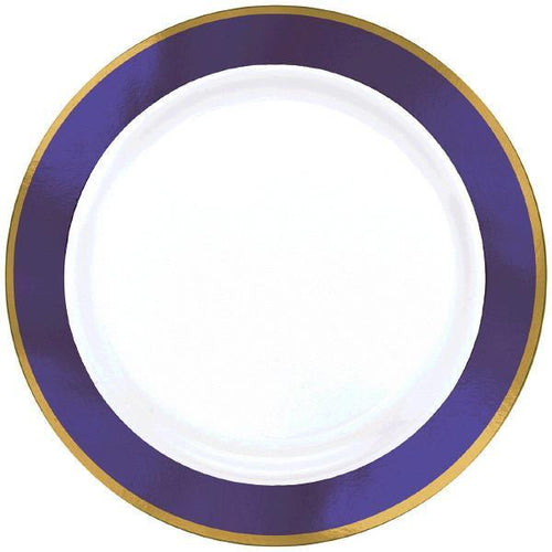 Amscan Solids Purple & Gold Premium Plastic Dinner 10.5 Inch Plates - 10ct