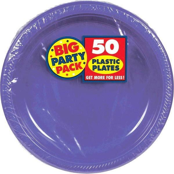 "Amscan SOLIDS Purple Plastic Dinner Plates 10 1/4"" - 50ct"