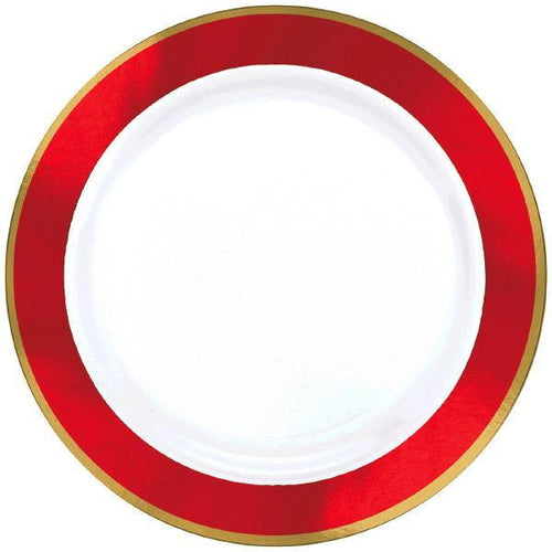 Amscan Solids Red & Gold Premium Plastic Dinner 10.5 Inch Plates - 10ct
