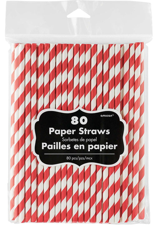 Amscan Solids Red Striped Paper Straws 80ct