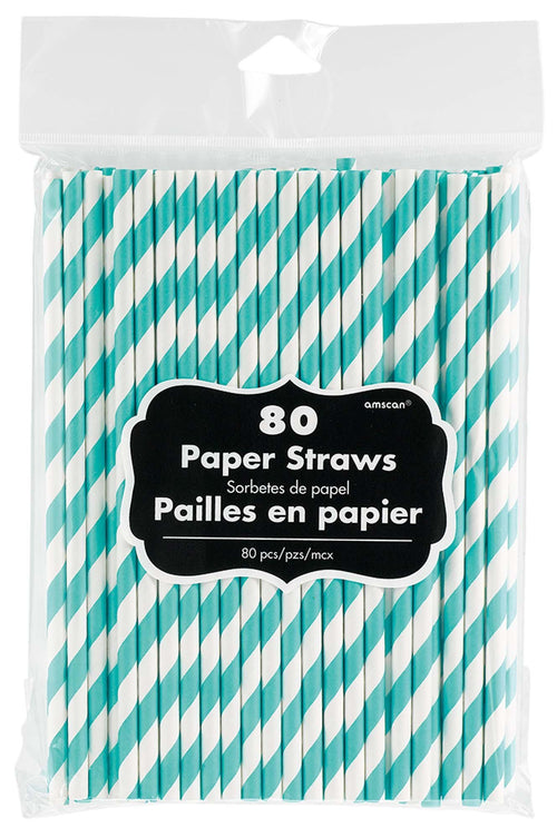 Amscan SOLIDS Robin's Egg Blue Striped Paper Straws 80ct