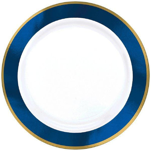 Amscan Solids Royal Blue & Gold Premium Plastic 7.5 Inch Plates 10ct