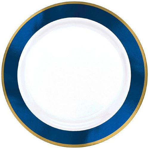 Amscan Solids Royal Blue & Gold Premium Plastic Dinner 10.5 Inch Plates - 10ct