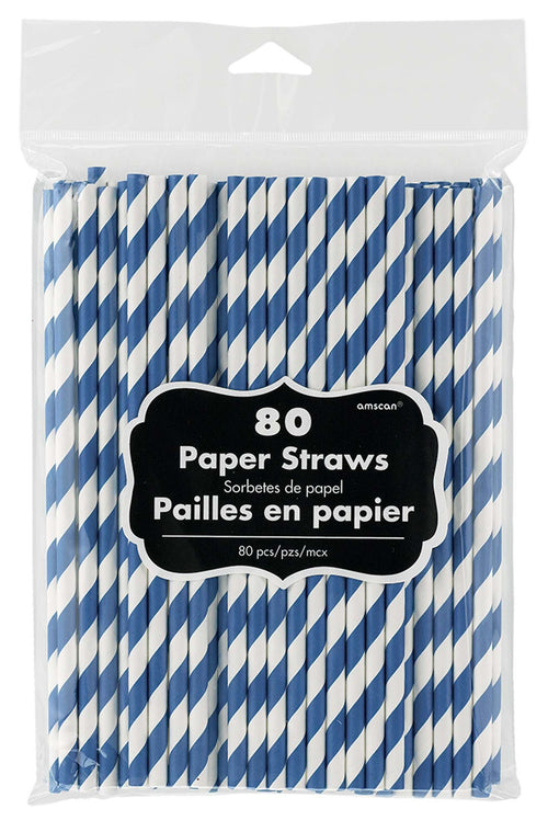 Amscan Solids Royal Blue Striped Paper Straws 80ct