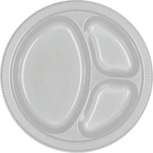 Amscan SOLIDS Silver Plastic Divided Dinner Plates 20ct