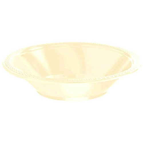 Amscan SOLIDS Vanilla Cream 12 oz. Plastic Bowls - 20 Count