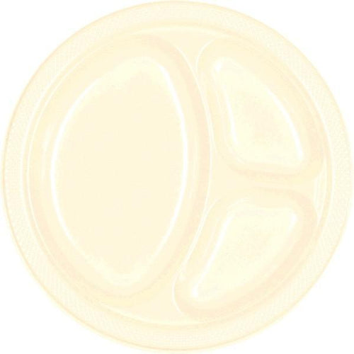 Amscan SOLIDS Vanilla Cream Plastic Divided Dinner Plates 20ct