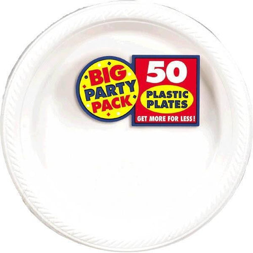 "Amscan SOLIDS White Plastic Dinner Plates 10 1/4"" - 50ct"