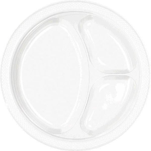 Amscan SOLIDS White Plastic Divided Dinner Plates 20ct