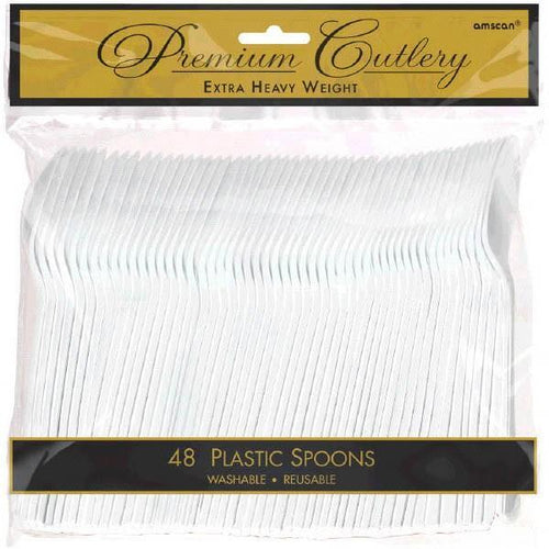 Amscan SOLIDS White Premium Heavy Weight Plastic Spoons 48ct