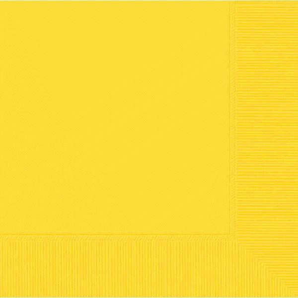 Amscan SOLIDS Yellow Beverage Napkins 3Ply 50ct