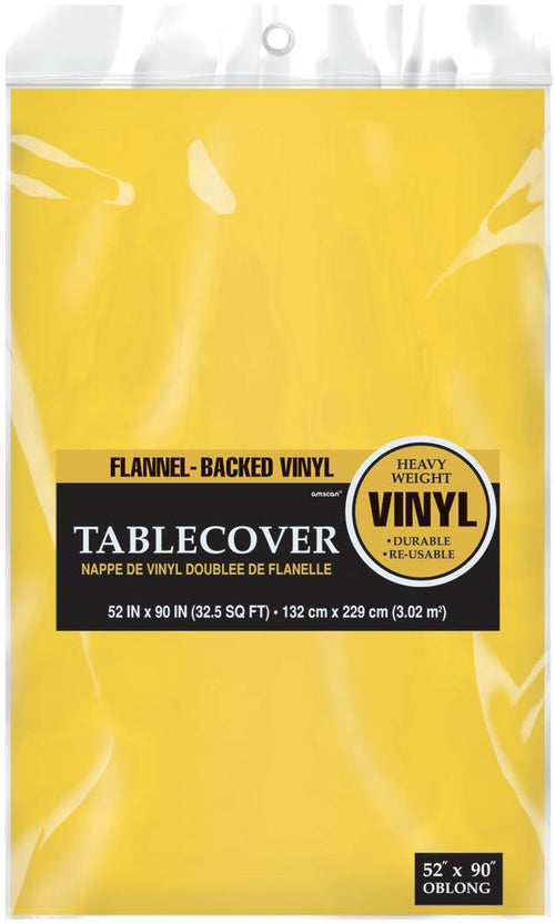 "Amscan SOLIDS Yellow Flannel Backed Vinyl Table Cover 52"" x 90"""