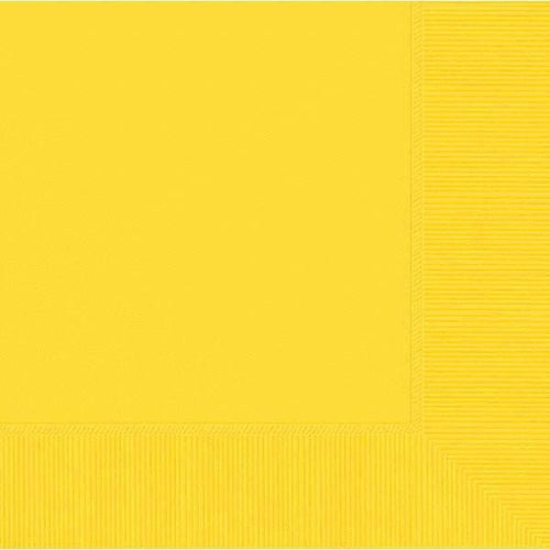Amscan SOLIDS Yellow Lunch Napkins 3Ply 50ct
