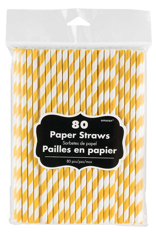 Amscan Solids Yellow Paper Straws 80ct