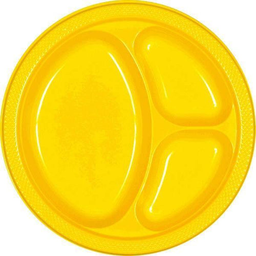 Amscan SOLIDS Yellow Plastic Divided Dinner Plates 20ct