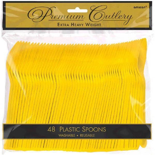 Amscan SOLIDS Yellow Premium Heavy Weight Plastic Spoons 48ct