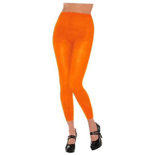 Amscan Spirit Adult Black Light Neon Orange Footless Tights