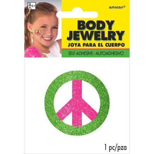 Amscan Spirit Black Light Neon Pink & Green Peace Sign Body Jewelry