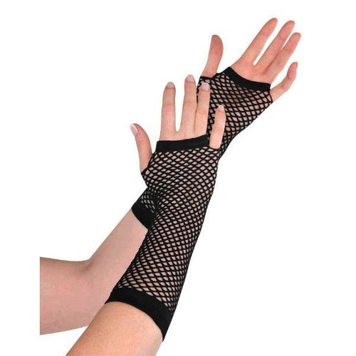 Amscan Spirit Long Black Fishnet Gloves