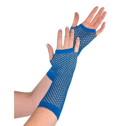 Amscan Spirit Long Blue Fishnet Gloves