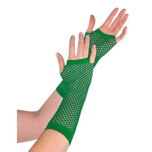 Amscan Spirit Long Green Fishnet Gloves