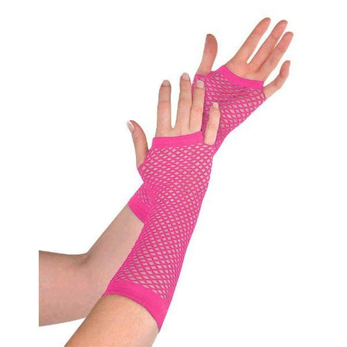 Amscan Spirit Long Pink Fishnet Gloves