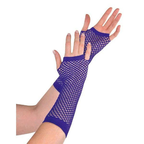 Amscan Spirit Long Purple Fishnet Gloves
