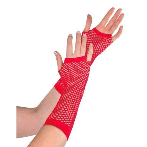 Amscan Spirit Long Red Fishnet Gloves