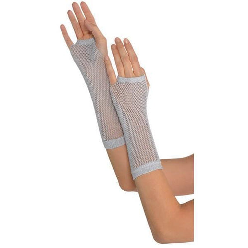 Amscan Spirit Long Silver Fishnet Gloves