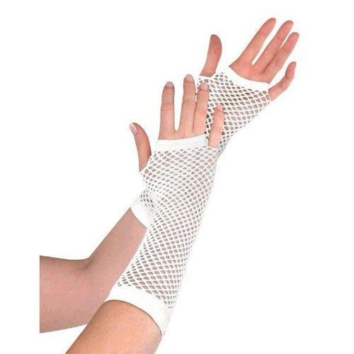 Amscan Spirit Long White Fishnet Gloves