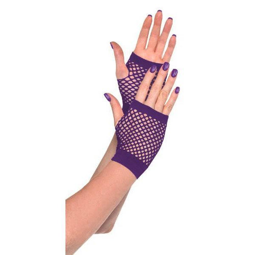 Amscan Spirit Purple Fishnet Glovelettes