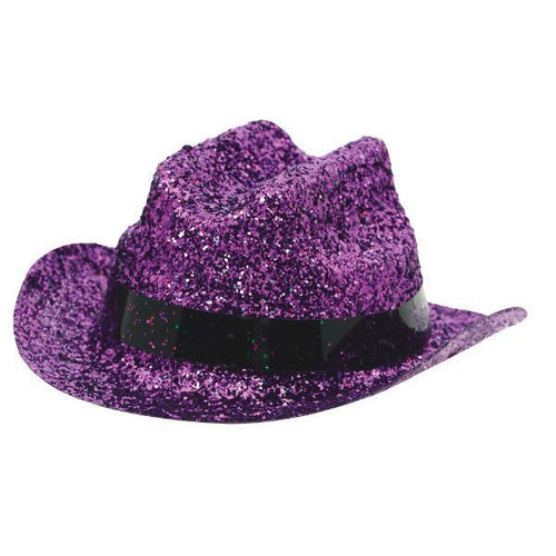Amscan Spirit Purple Glitter Mini Cowboy Hat