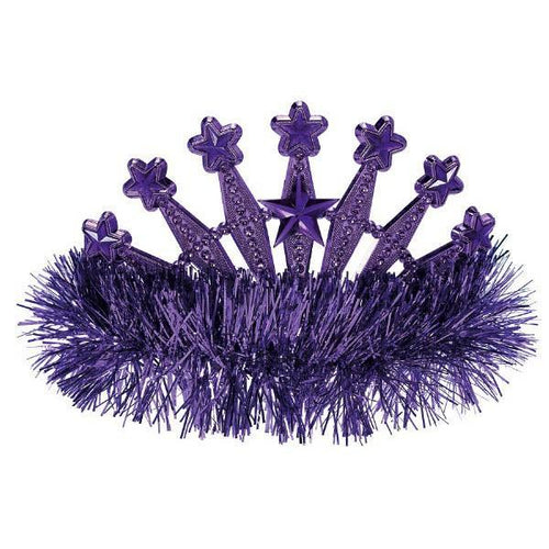 Amscan Spirit Purple Star Tinsel Tiara
