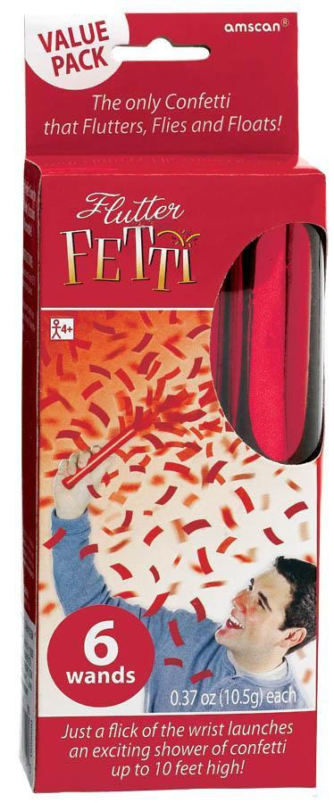 Amscan Spirit Red Flutter Tissue Paper Confetti Wands 6ct